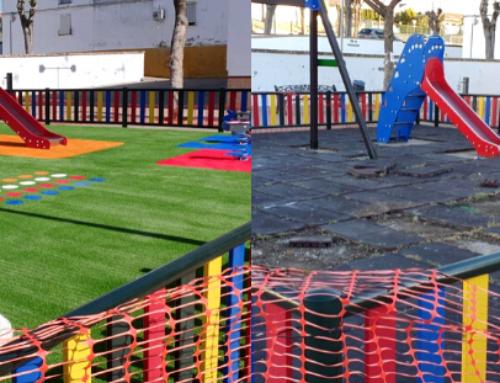 El césped artificial frente al caucho en parques infantiles