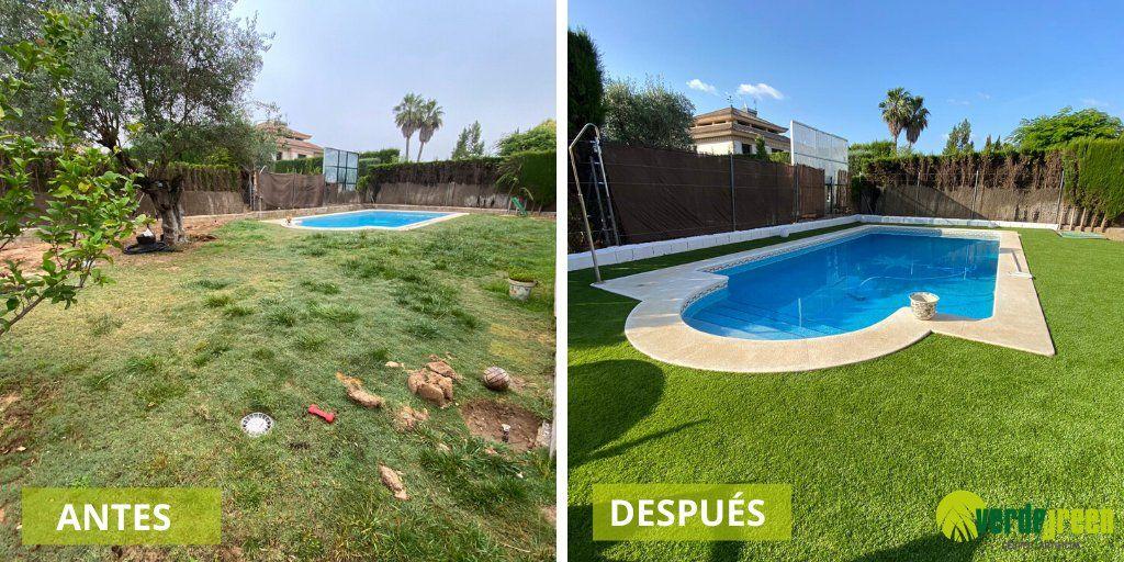 el antes y el después de un jardín con césped artificial